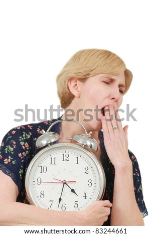 Woman trying to wake up - stock photo