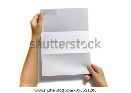woman two hands holding blank paper a4 size on a white background - stock photo