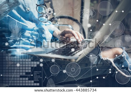 Woman Typing Keyboard Laptop Hand.Project Manager Researching Process.Business Team Working Startup modern Office.Global Strategy Virtual Icon.Innovation Graphs Interfaces.Analyze market stock.Blurred - stock photo