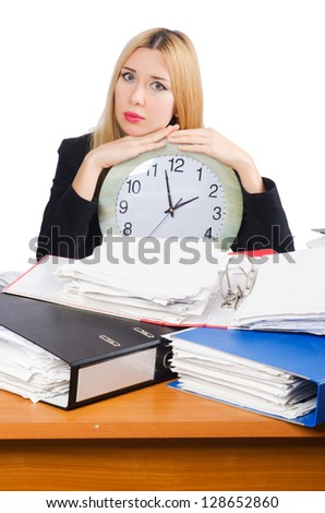 Woman under stree from too much work - stock photo