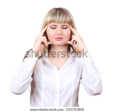 Woman under stress isolated on white - stock photo