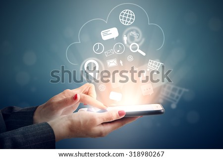 woman uploading her data at cloud storage