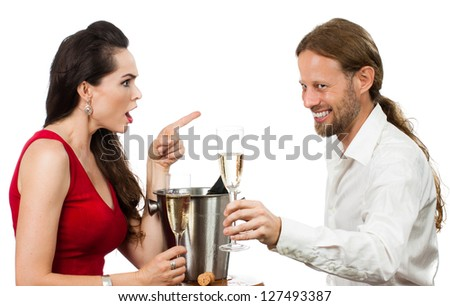 Woman upset with flirting boyfriend when out on a date. Isolated on white.