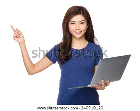 Woman use of laptop and finger point up