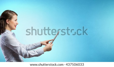 Woman use tablet device
