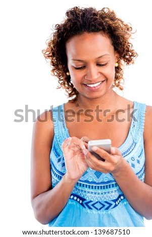 Woman using app on a smart phone - isolated over white background - stock photo