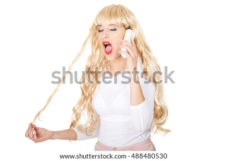 Woman using cellphone.