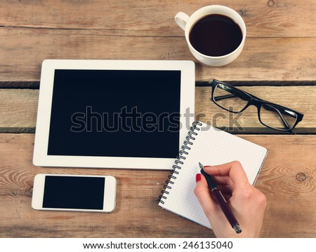 Woman using digital tablet computer  - stock photo