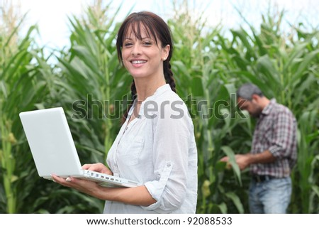 Woman using her laptop in a field of crops - stock photo