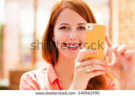 woman using mobile phone. - stock photo
