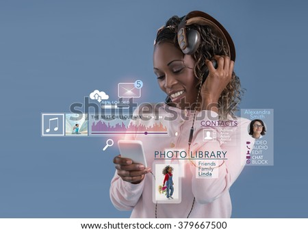 Woman using mobile technology - stock photo