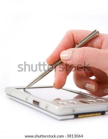 Woman using PDA - stock photo