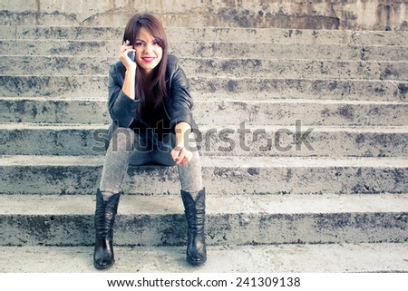 Woman using smart, mobile phone - stock photo