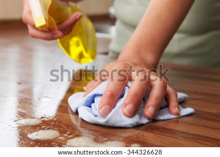 Woman Using Spray Cleaner On Wooden Surface - stock photo