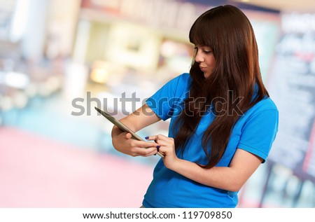 Woman Using tablet, Indoor - stock photo