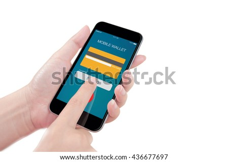 Woman using the phone with online mobile wallet screen on white background, isolated