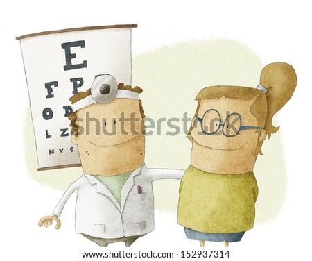 woman visits oculist doctor - stock photo