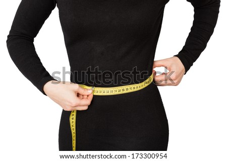 woman waist black dress isolated on white background - stock photo
