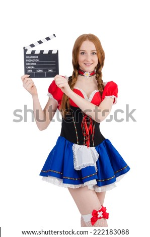 Woman waiter with movie board isolated on white - stock photo