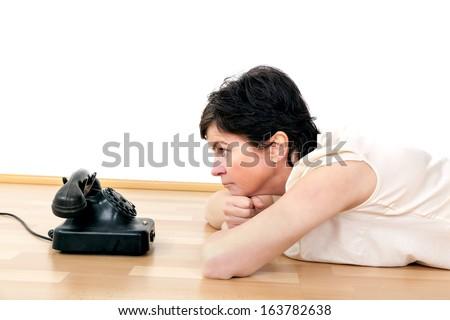 Woman waiting on call - stock photo