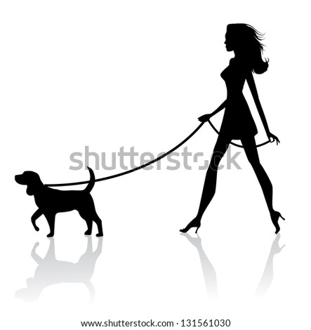 Woman Walking Dog Silhouette. JPG