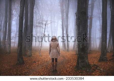 Woman walking in foggy forest during autumn - stock photo