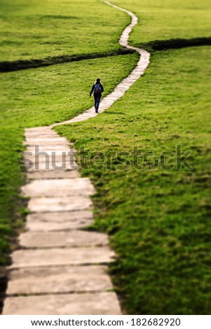 Woman walking on a long flagstone pathway snaking through a grassy field in the Yorkshire Dales, England, UK. Focus vignette added in post-production. - stock photo