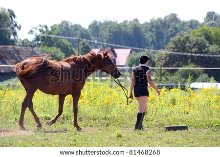 Woman walking with horse - stock photo
