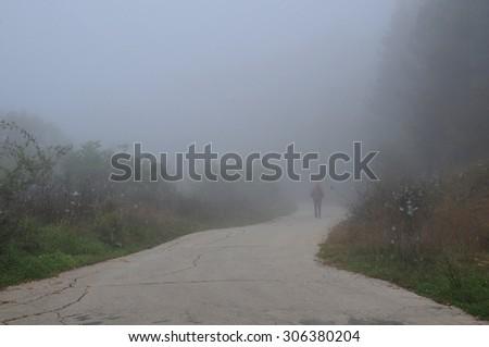 Woman walks down the road on the foggy morning in Bulgaria  - stock photo