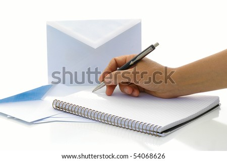 Woman wants to write the letter - stock photo