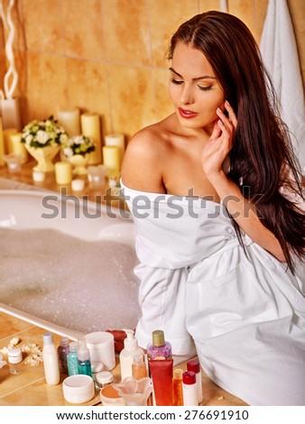 Woman washing at home luxury bath. - stock photo
