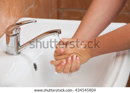 Woman Washing Hands. Cleaning Hands. Hygiene - stock photo