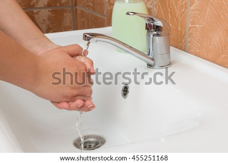 Woman Washing Hands. Cleaning Hands. Hygiene