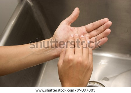 Woman Washing Hands Isolated