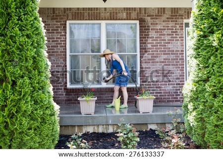 Spring cleaning stock images royalty free images vectors shutterstock for Cleaning exterior house windows
