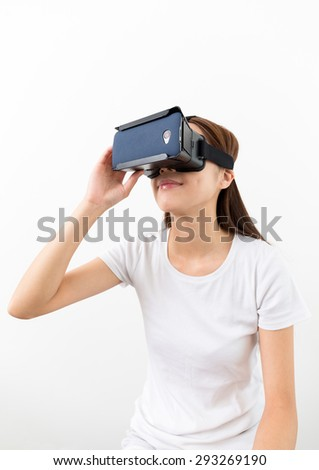 Woman watch with VR device - stock photo