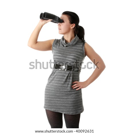 Woman watching through binoculars. Isolated on withe background
