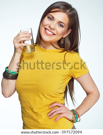 Woman water glass holding. Isolated portrait of smiling beautiful woman. - stock photo