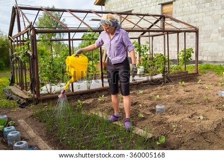 Woman watering the beds with green onions from a yellow watering can