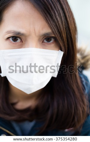Woman wear medical mask - stock photo