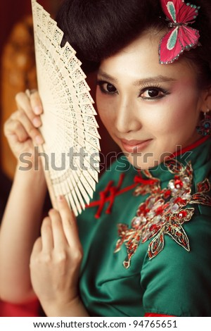 Woman wearing a cheongsam,Chinese classical costumes