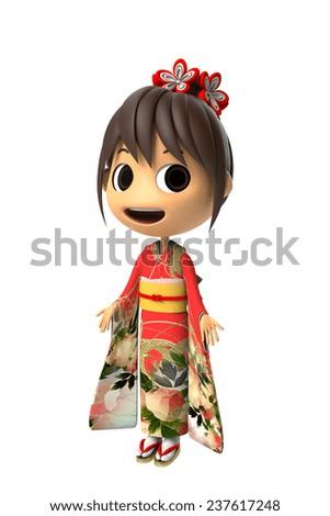 Woman wearing a kimono - stock photo