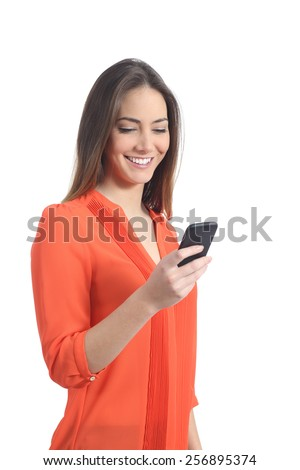 Woman wearing an orange shirt using a mobile phone isolated on a white background - stock photo