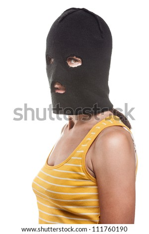 woman wearing balaclava or mask on head white isolated - stock photo