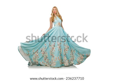 Woman wearing ball dress isolated on white - stock photo