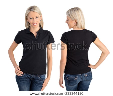 Woman wearing black polo shirt, front and back views - stock photo