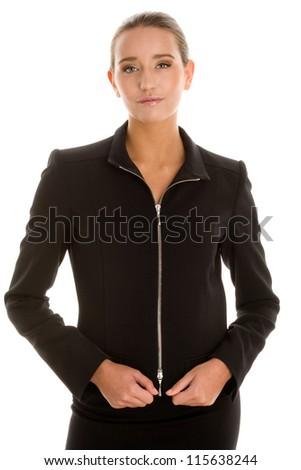 Woman wearing black suit - stock photo