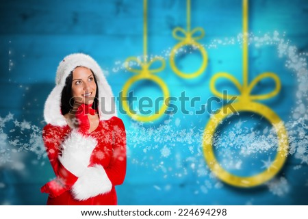 Woman wearing christmas styled clothes against blurred christmas background - stock photo