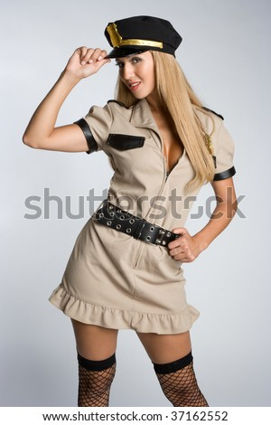 Woman Wearing Cop Costume