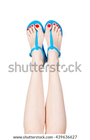 Woman wearing flip flop, isolated on white background
